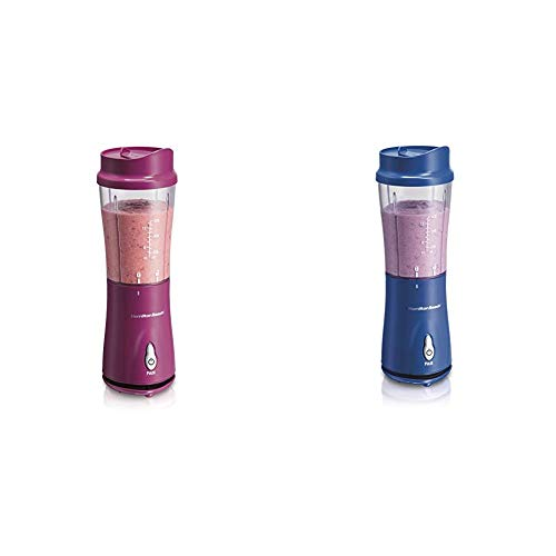 Hamilton Beach Personal Blender for Shakes and Smoothies with 14oz Travel Cup and Lid, Raspberry (51131) & Hamilton Beach Personal Smoothie Blender With 14 Oz Travel Cup And Lid, Blue 51132