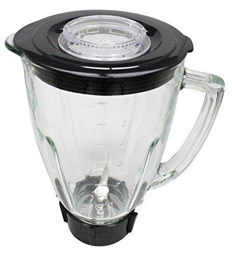 Ronnel Collection 6 Piece Round Blender Glass Jar Replacement Kit for Oster Blender, 1.3 Liter - 5.6 Cup Will Fit Oster Blender with Pin as pictured