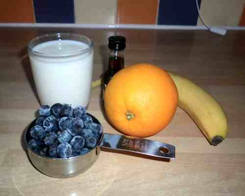 Ingredients for the orange blueberry smoothie recipe