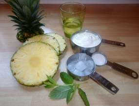 Ingredients for Pineapple-Mint Lassi