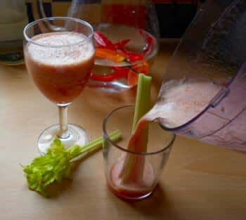 Making a bloody mary in a blender