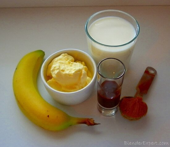 Ingredients for a Banana Split Milkshake